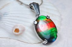 ammolite silver pendant dragonskin silver pendant A dream in blue turquoise green ammolite necklace pendant Ammolite ammolite pendant