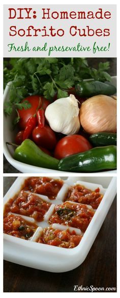 Homemade sofrito recipe used as a base for many Latin American dishes.  Freeze into ice cube trays for later use. Fresh and no preservatives. | ethnicspoon.com
