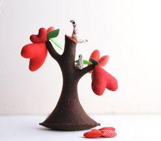 Tree of Love with birds - Valentine's gift, Valentine's day. Home Decor.. $49