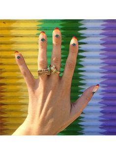 Nail Art - Rainbow French tips - 28 Instagram Nail-Art Ideas That Will Make You Smile | allure.com