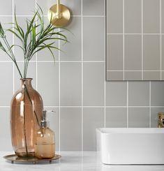 Flat Marble Arch Grey Gloss Tiles walls and floors, affiliate partner Grey Bathroom Tiles, Bathroom Wall, Wall Tiles, Brick Tiles, Flat Marbles, Mid Century Modern Bathroom, Basin Vanity Unit, Wall Hung Toilet, Retro Bathrooms