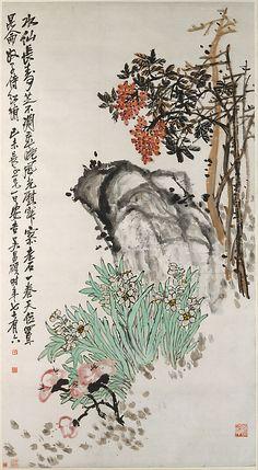 Wu Changshuo, (Chinese, 1844–1927). Spring Offerings, 1919. The Metropolitan Museum of Art, New York. Gift of Robert Hatfield Ellsworth, in memory of La Ferne Hatfield Ellsworth, 1988 (1988.324.2) #spring