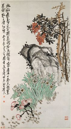 Wu Changshuo, (Chinese, 1844–1927). Spring Offerings, 1919. The Metropolitan Museum of Art, New York. Gift of Robert Hatfield Ellsworth, in memory of La Ferne Hatfield Ellsworth, 1988 (1988.324.2) #spring