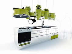 Voilà une idée extraordinaire, le jardin dans la cuisine ! idéal pour cuisiner avec des produits ultra-frais ! plus frais que ça : impossible !