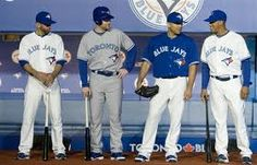 Toronto Blue Jays 2012 Uniforms (Left to right: Jose Bautista, Adam Lind, Ricky Romero, Yunel Escobar) Blue Jay Way, Rough Riders, American League, Toronto Blue Jays, Sports Photos, Sport Outfits, Baseball Cards, School Uniforms, Beavers
