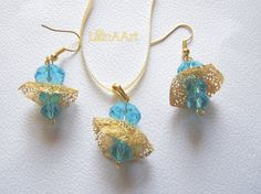 SEA BREEZE jewelry set of pendant and earrings made of by LanAArt, $15.00