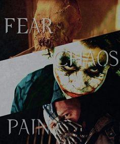 Batman Begins(Scarecrow) Batman:Dark Knight(Joker and Scarecrow), and Batman: Dark Knight Rises ( Bane and Scarecrow)