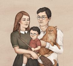 On this picture you can see family Potter. left: Lily Evans (later Lily Potter) richt: James Potter In the middle: Harry James Potter Harry Potter Couples, Harry Potter Symbols, Harry Potter Artwork, Harry Potter Cake, Harry Potter Facts, Harry Potter Books, Harry Potter Fandom, Harry Potter Characters, Harry Potter World
