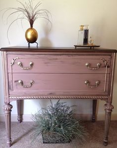 Distressed Small Chest of Drawers. $250.00, via Etsy.  Love this color