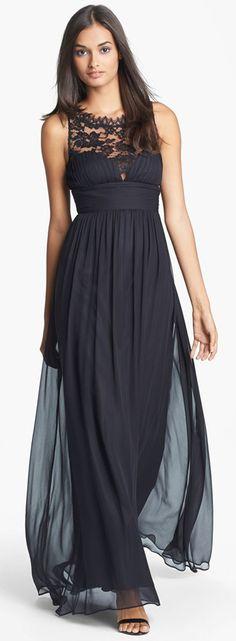Aidon Mattox Black Embellished Lace & Silk Chiffon Gown