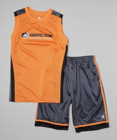 This Orange Metallic Tank & Navy Shorts - Boys by Above The Rim is perfect! #zulilyfinds