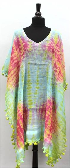 Tie Dye Beach Cover Up - Green/Pink