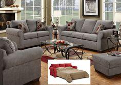 1640 Graphite Gray Sofa Set | Atlantic Bedding and Furniture
