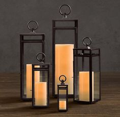 Santorini Square Lanterns - contemporary - candles and candle holders - Restoration Hardware Fireplace Candle Holder, Candles In Fireplace, Candle Sconces, Candle Holders, Candle Stands, Fireplace Decorations, Outdoor Candles, Flameless Candles, Rustic Lanterns