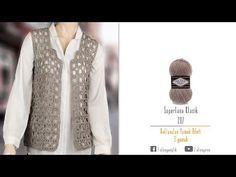 Alize Superlana Klasik ile Tığ İşi Yelek Yapımı-Making Crochet Work Vest - YouTube