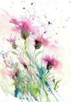 Watercolor Flowers Discover Limited edition print Knapweeds Title: Bumble bee on a knapweed. Description: Contemporary LIMITED EDITION PRINT (you will receive one of of my original watercolour painting on Easy Flower Painting, Acrylic Painting Flowers, Abstract Flowers, Watercolor Flowers, Flower Art, Paintings Of Flowers, Flower Prints, Watercolor Pictures, Watercolor Cards