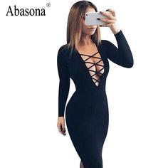 Vestidos綿女性タイアップ秋ボディコンパーティーdressセクシーな深いvネッククリス長袖ナイトクラブ包帯dress
