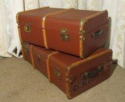 Antiques Atlas - 2 Vintage Canvas Travel Trunks