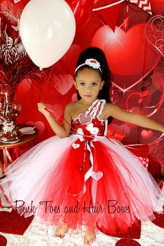 Red and White Couture Valentine tutu dress
