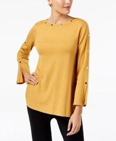 Alfani Petite Studded Long-Sleeve Top, Created for Macy's - Yellow P/XS
