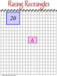 Students, working in pairs, take turns rolling two dice.  Each student must choose a different colored marker or crayon to use.  The student outlines and fills in a rectangle that matches what they rolled.     For example, if the student rolled a 4 and 3, that student would fill in a 4x3 rectangle on the grid.  The player then writes the total number of squares inside the rectangle.    A player loses a turn when his or her rectangle cannot fit on the game board.  Play continues back and forth...