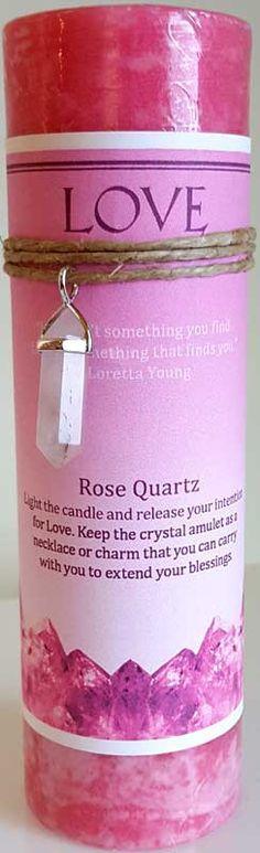 Love pillar candle with Rose Quartz pendant