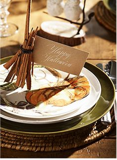 How cute are the witch's broom place cards made with cinnamon sticks?