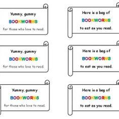 Gummy Bookworm Treat Tags