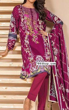 Magenta Cottel Suit | Buy Zeen Pakistani Dresses and Clothing online in USA, UK