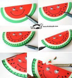 children activities, more than 2000 coloring pages - Art artisan pour les enfants Watermelon Crafts, Fruit Crafts, Cardboard Crafts Kids, Paper Crafts, Yarn Crafts, Diy Crafts For Kids, Preschool Activities, Children Activities, Vegetable Crafts