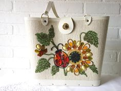 Vintage 1960's Lady Bug & Sunflower Bucket Purse. Enid Collins Style. Mint. $45