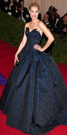 a printed Zac Posen ball gown, blinged out with coordinating sapphire Lorraine Schwartz earrings and ring