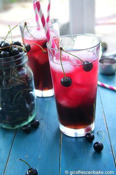 """Very Cherry Long Island Iced Tea The classic, top shelf cocktail with a new cherry twist! This delicious favourite is quick and easy to make, with fresh or frozen cherries, perfect for entertaining this summer"""