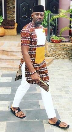 Nigerian Outfits, Nigerian Men Fashion, Indian Men Fashion, African Print Fashion, Africa Fashion, African Fashion Dresses, African Shirts For Men, African Dresses For Kids, African Attire For Men