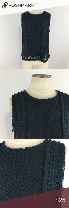 """J by JOA- Dark Blue Crochet & Fringe Top SZ L. J by JOA- Dark Blue Crochet & Fringe Sleeveless Top SZ L. Fully lined in mesh underneath (see pic #6). Brand name tag does have a couple marks on it. Top is in great preloved condition. Shoulder-bottom measures about 22"""" in length. Armpit-armpit measures about 19"""" across laid flat. J by JOA Tops"""