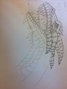 Ik heb toch een ander nieuw idee gekregen en ik ga een draak maken dat een een tovenaarsstok zit