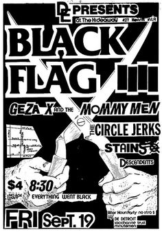 Black Flag, Circle Jerks, the Stains, Descendents punk hardcore flyer