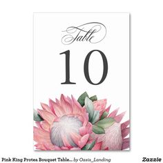 Shop Pink King Protea Bouquet Table Number created by Oasis_Landing. Card Table Wedding, Wedding Table Numbers, Wedding Cards, Wedding Gifts For Bridesmaids, Wedding Bouquets, Wedding Greenery, Modern Wedding Inspiration, Wedding Ideas, Trendy Wedding