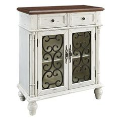 2 Drawer and 2 Door Console in Shab White by Powell 160-933