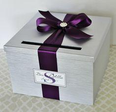 Wedding Card Holder Box Silver and Plum Purple Customizable