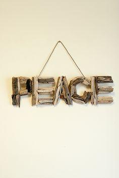 Peace Natural Driftwood Wall Art