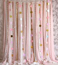 pink lace Sparkle sequin photography Wedding baby shower party backdrop garland