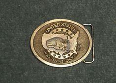 Men's Vintage UNITED STATES TRUCK DRIVING SCHOOL Logo Belt Buckle, GUC!