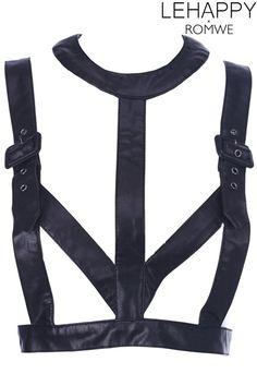 Black Fake Leather Strap Top