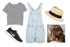 """""""Stripes"""" by sarahtonins on Polyvore featuring Topshop, Enza Costa, NIKE and Eugenia Kim"""
