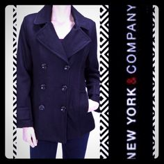 NY&CO Classic Black Wool Coat - sz:14 NEW York & CO. Beautiful classic wool peacoat. Size 14 women's. Great condition! Black. Jackets & Coats