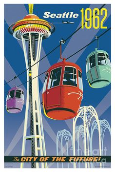 Vintage Style Seattle Travel Poster featuring the Space Needle and 1962 World's Fair — Jim Zahniser, Red Robot Design & Illustration