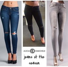 """Season Must-Have!! Slit Knee Jeans all the new normal for denim! They give you the look of a slight distressing without being too distracting! Plus as the weather turns cooler you won't be cold in your totally open boyfriends! They look great with pumps and a leather jacket or your moto boots and a tee!  SEARCH: Slit Knee Jeans  SHOP: www.aliciadimichele.com USE: promo-code """"FREESHIP"""" at checkout"""