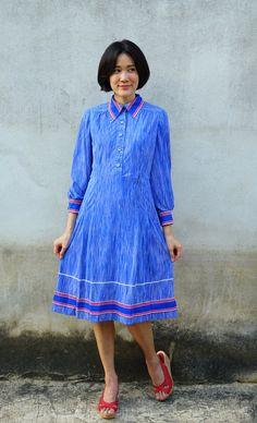 Vintage Dress/ 1980s Dress/ Vintage Japanese Dress/ Vintage Womens Dress/ Summer Dress/ Rockabilly Dress/ Womens Dress/ Striped Dress by hisandhervintage on Etsy