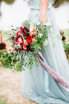 Dark Passion for an Otherworldly Wedding Inspired by Greek Myths Seafoam Green Wedding Dress with a Red and Peach Bouquet Peach Bouquet, Red Bouquet Wedding, Bride Bouquets, Wedding Shoot, Bouquet Flowers, Wedding Flowers, Romantic Wedding Receptions, Romantic Weddings, Wedding Venue Inspiration
